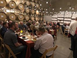 Dinner amongst the barrels.